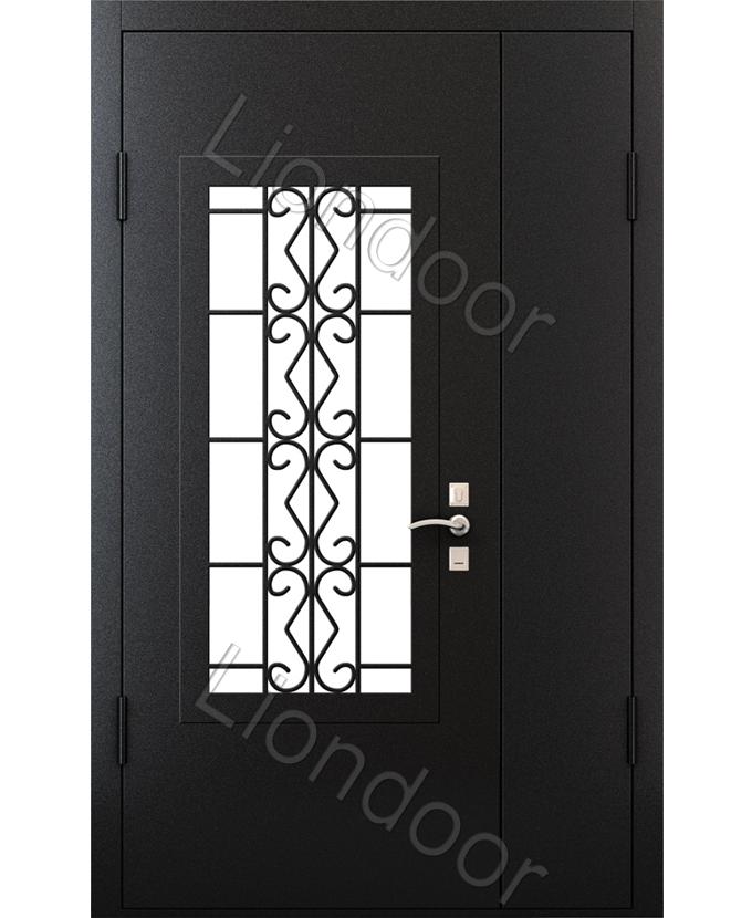 входные металлические двери подъезда со стеклом и решеткой