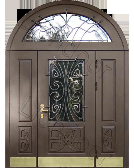 входные двойные двери с остеклением